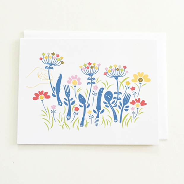 Illustrations of coloured flowers Notecard
