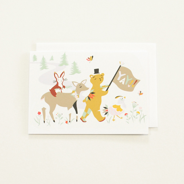 Illustration of Animals in the Forest Notecard with Yay Sign