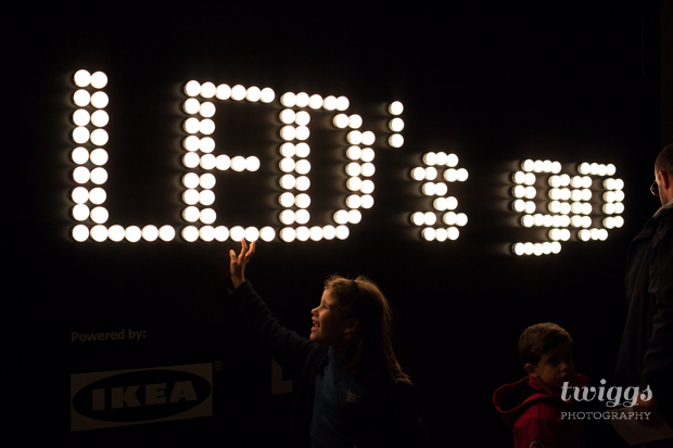 Led's go Light Installation being lighted by guests