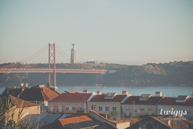 Viewpoint on Palácio da Ajuda over to the Tagus River and Bridge