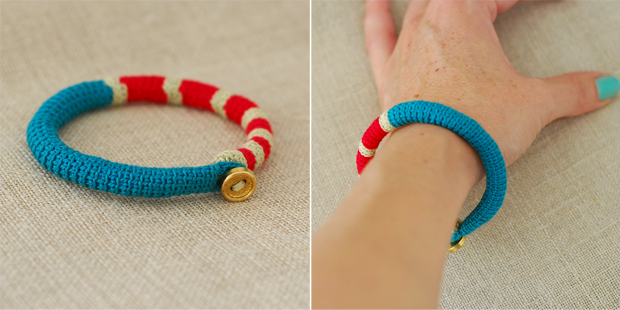 Colourful handmade crocheted bangles by Kjoo