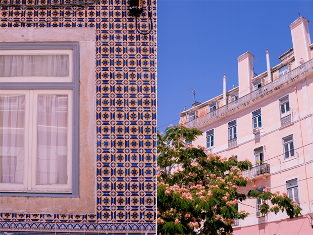 Detail of a window and tile wall, and architecture in Lisbon by Twiggs Photography
