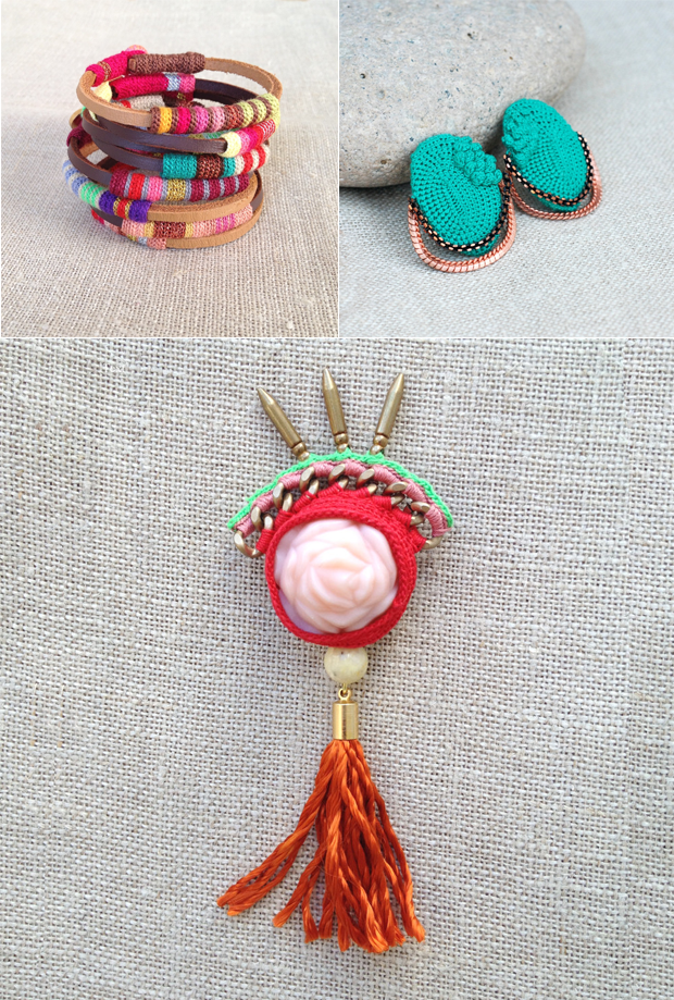 Handmade Crocheted Bangles, Studs and Brooch by Kjoo