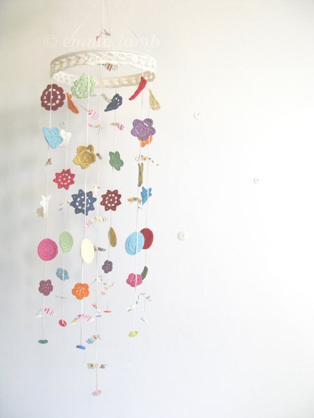 Crochet Flower Mobile hanged on the ceiling by Emma Lamb