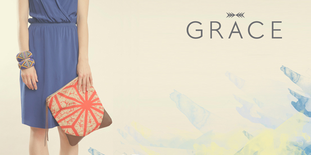 Stella Leather & Kimono Clutch by Grace Design