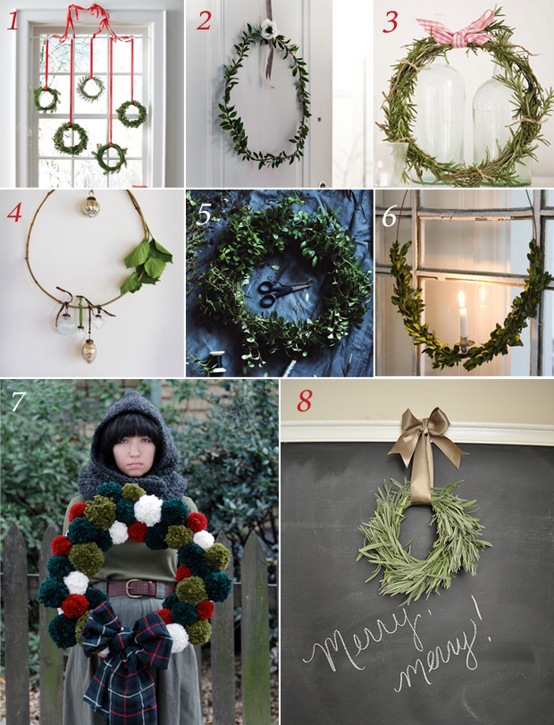 Examples of DIY Christmas Wreaths using pom-poms, herbs and other leaves/bushes
