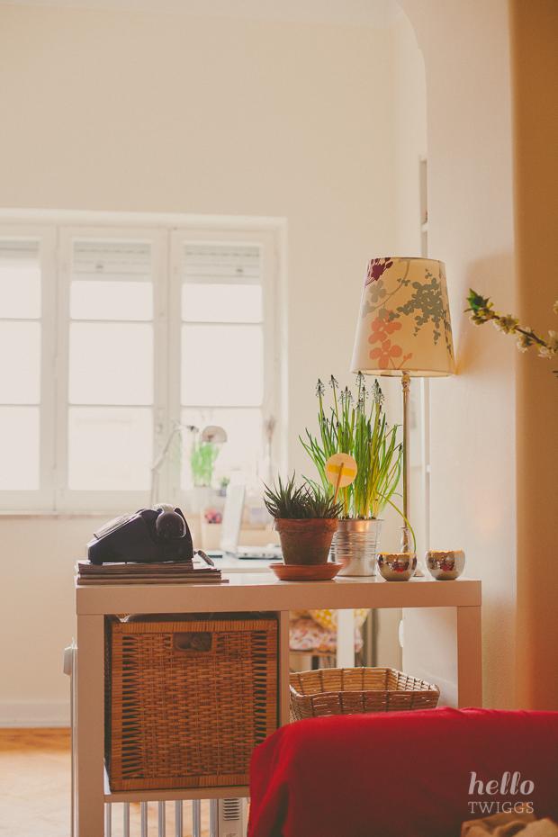 Flowers on the window, Office corner by the window, Ikea lamp, Ikea frames, Ikea table