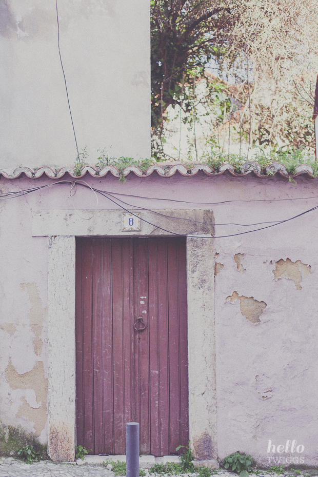 Pink weathered wall and brown door in Lisbon by Hello Twiggs