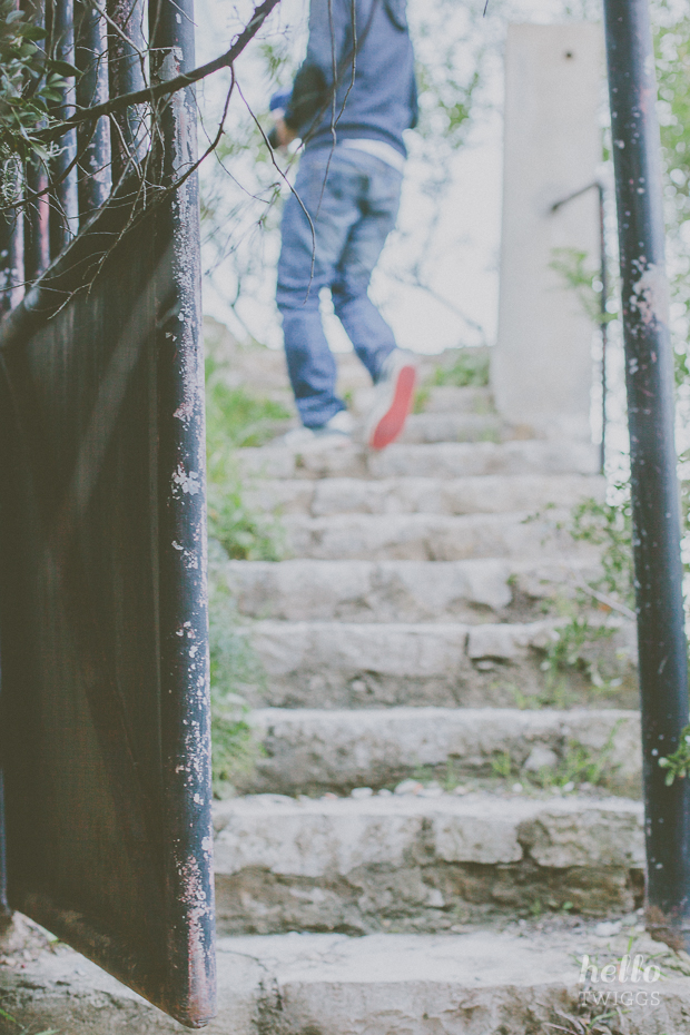 Man walking up the stairs