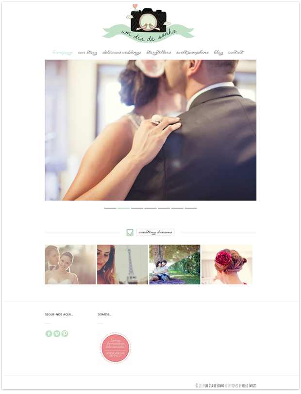 Wordpress Photography Portfolio Website + Blog for Um Dia de Sonho