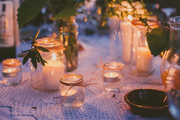 Fotografia de Casamento - Decoração Rústica Velas e Frascos