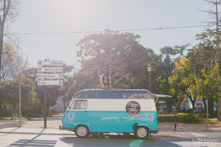 Vintage Style Turquoise Van - Tell a Story Library